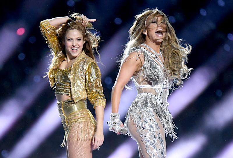 MIAMI, FLORIDA - FEBRUARY 02: Shakira and Jennifer Lopez perform onstage during the Pepsi Super Bowl LIV Halftime Show at Hard Rock Stadium on February 02, 2020 in Miami, Florida. (Photo by Jeff Kravitz/FilmMagic)