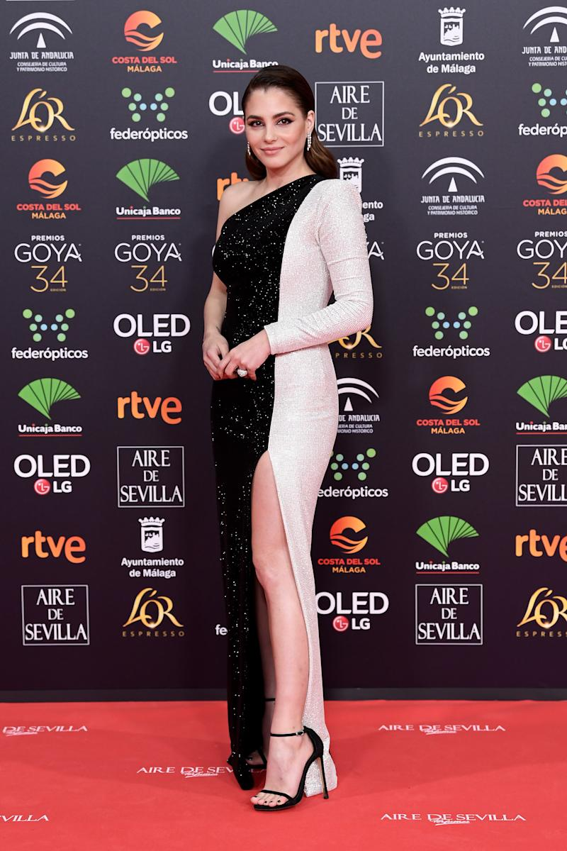 MALAGA, SPAIN - JANUARY 25: Andrea Duro attends the Goya Cinema Awards 2020 during the 34th edition of the Goya Cinema Awards at Jose Maria Martin Carpena Sports Palace on January 25, 2020 in Malaga, Spain. (Photo by Carlos Alvarez/Getty Images)