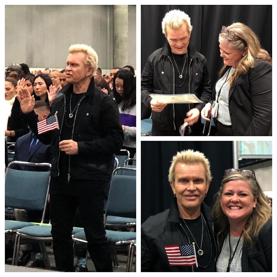 "The British rocker became an American citizen on Nov. 14, 2018. The official Twitter account of U.S. Citizenship and Immigration Services <a href=""https://twitter.com/USCIS/status/1062884346862952448?ref_src=twsrc%5Etfw%7Ctwcamp%5Etweetembed%7Ctwterm%5E1062884346862952448&ref_url=https%3A%2F%2Fwww.billboard.com%2Farticles%2Fnews%2F8485112%2Fbilly-idol-officially-becomes-a-us-citizen-see-the-photos"">tweeted</a> out their congratulations by saying, ""It's a nice day for a naturalization ceremony. Congratulations Billy Idol on becoming a #newUScitizen today in Los Angeles, CA."""