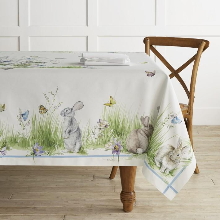 "<p><strong></strong></p><p>williams-sonoma.com</p><p><strong>$179.95</strong></p><p><a rel=""nofollow"" href=""https://www.williams-sonoma.com/products/floral-meadow-tablecloth"">Shop Now</a></p><p>Create a whimsical spread this Easter, starting at your dining room table. The crisp white base of this table topper allows you to place your centerpiece on a more neutral space, while the trim depicts a delightful spring scene. </p>"