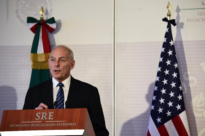 US Homeland Security chief John Kelly speaks during a joint press conference with Mexican Interior Minister Miguel Angel Osorio Chong (out of frame), at the Foreign Ministry building in Mexico City on February 23, 2017 (AFP Photo/Ronaldo SCHEMIDT)