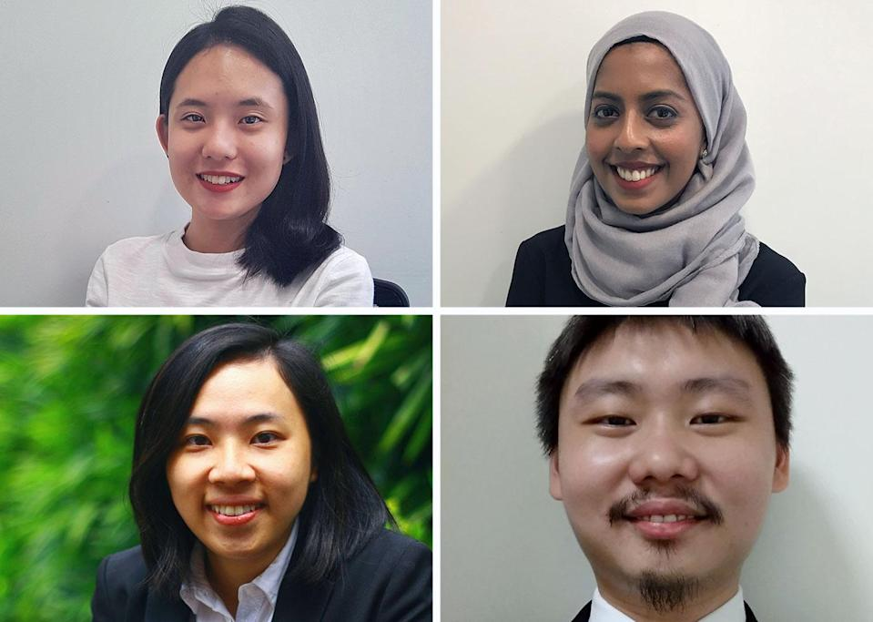 From top left clockwise: Ariel Lim, Khadijah Yasin, Wilson Foo and Low Seow Ling are among young lawyers in Singapore who are increasingly taking up pro bono work.