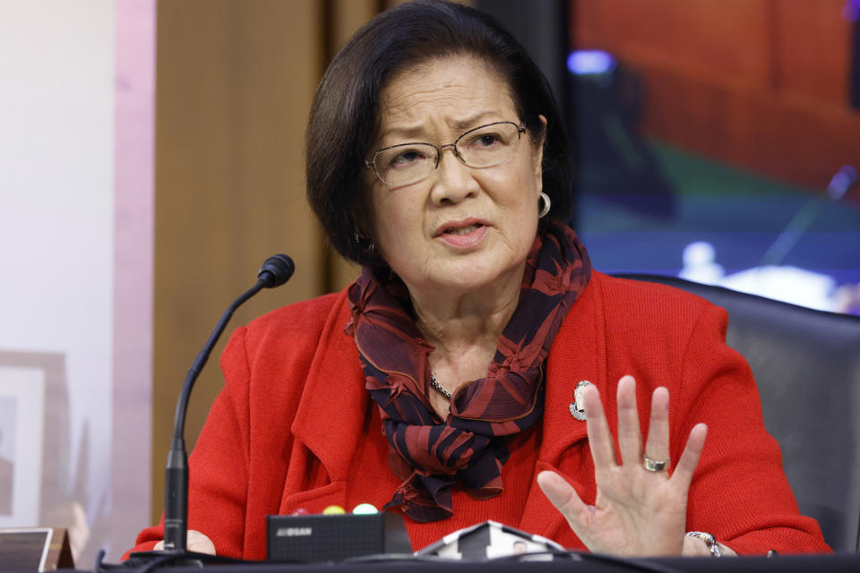 """Sen. Mazie Hirono (D-HI), speaks during the Senate Judiciary Committee confirmation hearing for Supreme Court nominee Judge Amy Coney Barrett on Oct. 13, when she called out Barrett for her use of """"sexual preference"""" rather than """"sexual orientation."""" (Photo: Samuel Corum/Getty Images)"""