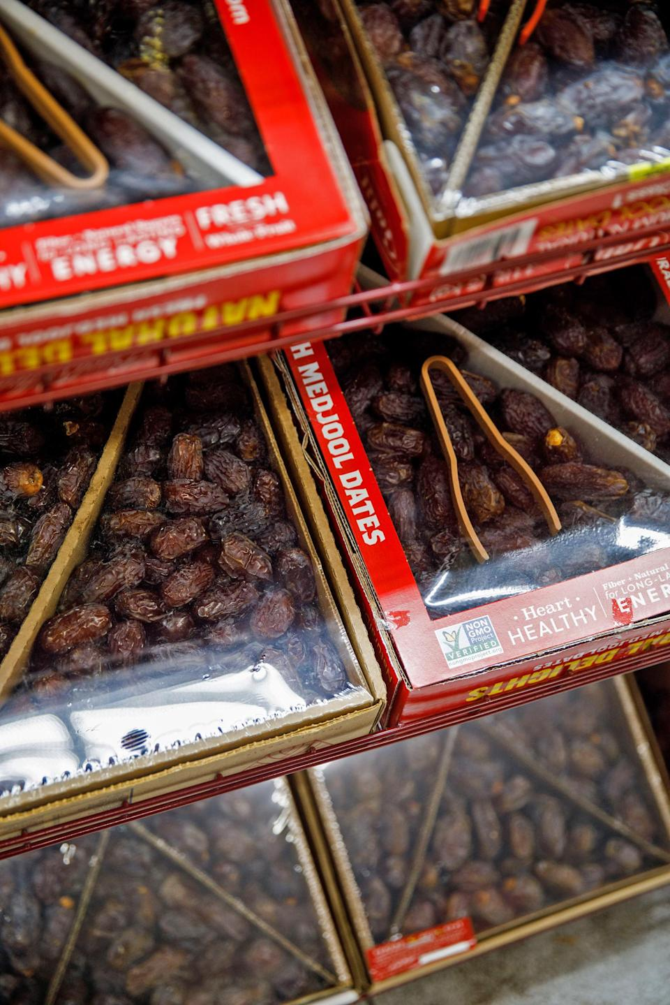 Boxes of dates, a fixture of nightly iftar meals during the holy month of Ramadan, are displayed in the halal grocery store Fertile Crescent in Brooklyn, N.Y., on May 5, 2021. (Julius Constantine Motal / NBC News)