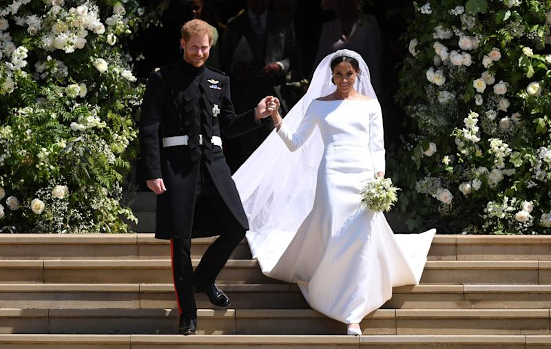The Duke and Duchess of Sussex exiting St. George's Chapel in Windsor Castle.
