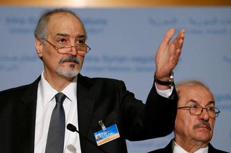 Al-Ja'afari, Syrian chief negotiator, attends a news conference after a round of negotiations during the Intra-Syrian talks at the UN in Geneva