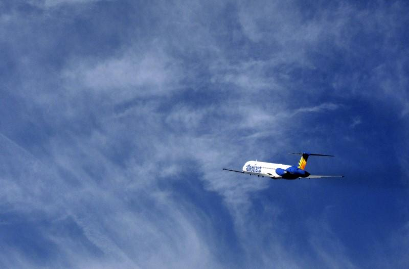 An Allegiant Air passenger jet takes off from the Monterey airport