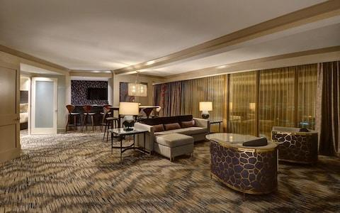 Inside a Mandalay Bay Hotel suite similar to the one used by Paddock