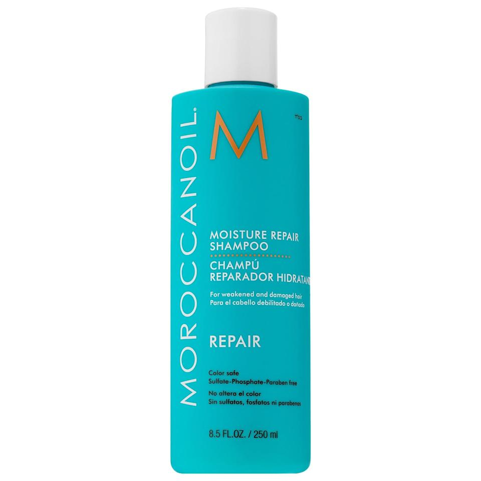 <p>Give hair some relief with this <span>Moroccanoil Moisture Repair Shampoo</span> ($11-$24), rich in nourishing plant extracts and strength-building keratin. However, its star ingredient is definitely the antioxidant-rich argan oil, which brings back necessary moisture and fights damage from heat and chemical processes as it gently cleanses.</p>