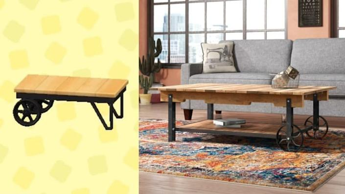If you have an industrial aesthetic, this coffee table is perfect for you.