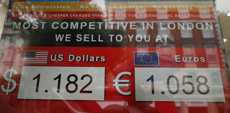 A currency exchange bureau displays the value of the British pound sterling against the United States dollar, left and the euro on a main shopping street in London, Tuesday, July 30, 2019. The pound has fallen sharply in recent days as businesses warn that no amount of preparation can eliminate the economic damage if Britain crashes out of the 28-nation trading bloc without agreement on the terms. The currency fell early Tuesday to $1.2120, its lowest since March 2017. (AP Photo/Alastair Grant)