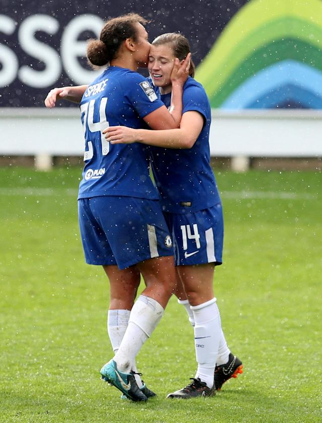 Soccer Football - Women's FA Cup Semi Final - Chelsea vs Manchester City - The Cherry Red Records Stadium, London, Britain - April 15, 2018 Chelsea's Fran Kirby celebrates scoring their second goal Action Images/Peter Cziborra