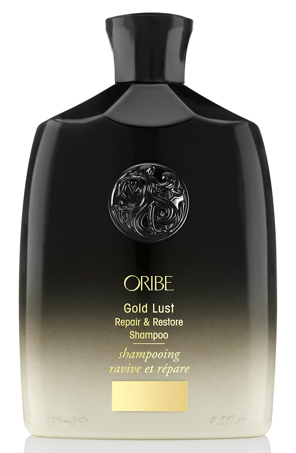 "<h3><a href=""https://shop.nordstrom.com/s/oribe-gold-lust-repair-restore-shampoo/4513788/full"" rel=""nofollow noopener"" target=""_blank"" data-ylk=""slk:Oribe Gold Lust Repair & Restore Shampoo"" class=""link rapid-noclick-resp"">Oribe Gold Lust Repair & Restore Shampoo</a></h3><br>Give her the gift of good hair with this rejuvenating cleanser that reawakens hair to its glossiest, healthiest prime — this is especially relevant for those locks that have lost their luster in quarantine. <br><br><strong>Oribe</strong> Gold Lust Repair & Restore Shampoo, $, available at <a href=""https://go.skimresources.com/?id=30283X879131&url=https%3A%2F%2Fshop.nordstrom.com%2Fs%2Foribe-gold-lust-repair-restore-shampoo%2F4513788%2Ffull"" rel=""nofollow noopener"" target=""_blank"" data-ylk=""slk:Nordstrom"" class=""link rapid-noclick-resp"">Nordstrom</a>"