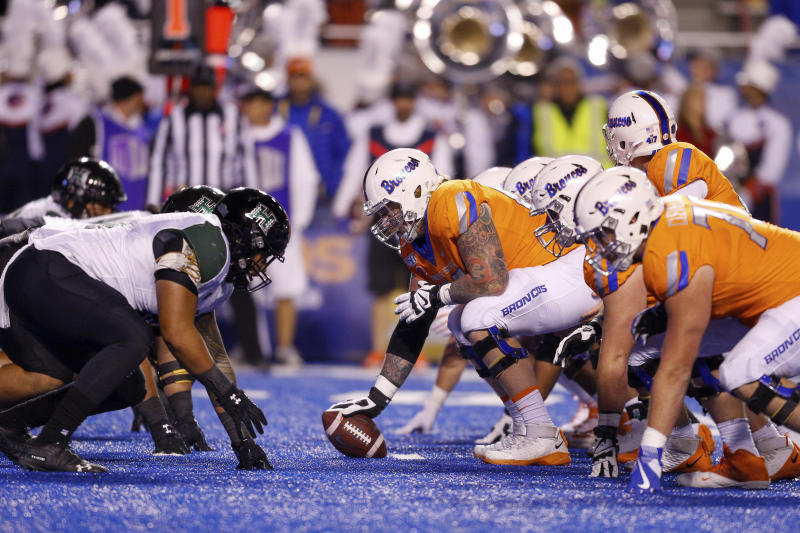 Boise State lines up against Hawaii in the first half of an NCAA college football game, Saturday, Oct. 12, 2019, in Boise, Idaho. Boise State won 59-37. (AP Photo/Steve Conner)
