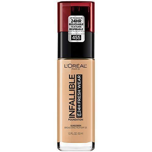 """<p><strong>L'Oreal Paris</strong></p><p>L'Oreal</p><p><strong>$15.00</strong></p><p><a href=""""https://www.lorealparisusa.com/products/makeup/face/foundation-makeup/infallible-24-hour-fresh-wear-foundation-lightweight.aspx?shade=455-natural-buff"""" rel=""""nofollow noopener"""" target=""""_blank"""" data-ylk=""""slk:Shop Now"""" class=""""link rapid-noclick-resp"""">Shop Now</a></p><p>No one ever wants to <em>feel</em> like they're wearing foundation. They just want to magically have flawless skin, right? Well, that's exactly what this lightweight yet full coverage formula does — all for $15, thankyouverymuch. Don't sleep on this L'Oreal Paris Makeup Infallible Fresh Wear Foundation. </p>"""