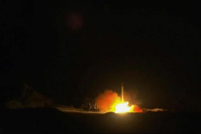 A still from footage from state-run Iran Press news agency allegedly shows rockets launched from the Islamic republic against the Ain al-Asad US military base in Iraq (AFP Photo/-)