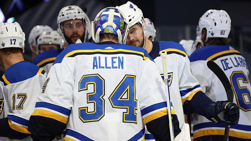 EDMONTON, ALBERTA - AUGUST 17: Goaltender Jake Allen #34 of the St. Louis Blues is congratulated by Mackenzie MacEachern #28 after their 3-1 win against the Vancouver Canucks in Game Four of the Western Conference First Round of the 2020 NHL Stanley Cup Playoff between the St Louis Blues and the Vancouver Canucks at Rogers Place on August 17, 2020 in Edmonton, Alberta. (Photo by Dave Sandford/NHLI via Getty Images)