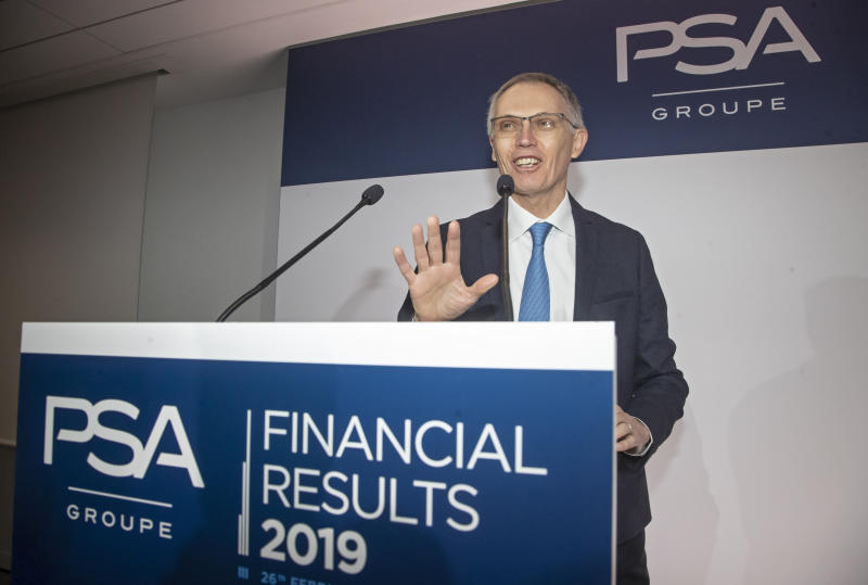 CEO of PSA Groupe Carlos Tavares arrives for the presentation of the company's 2019 full year results, in Rueil-Malmaison, west of Paris, Wednesday, Feb. 26, 2020. The French carmaker announced a new profitability record in 2019. (AP Photo/Michel Euler)