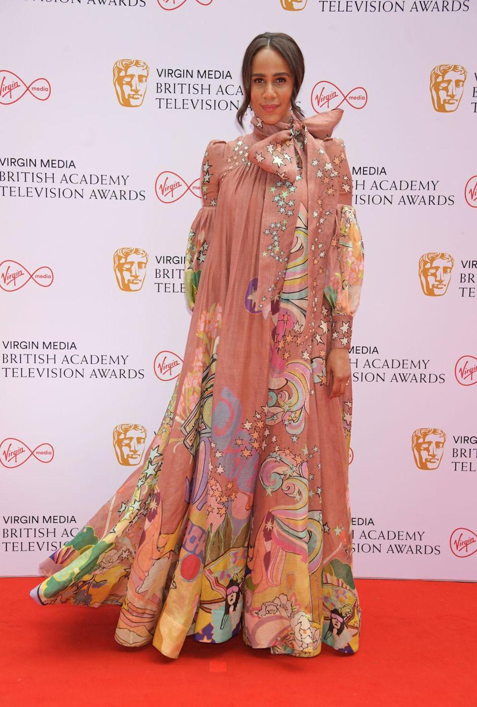 <p>Zawe Ashton looked beautiful for the occasion in a dramatic Zimmermann gown, which featured an unusual print and a giant bow at the neckline.</p>