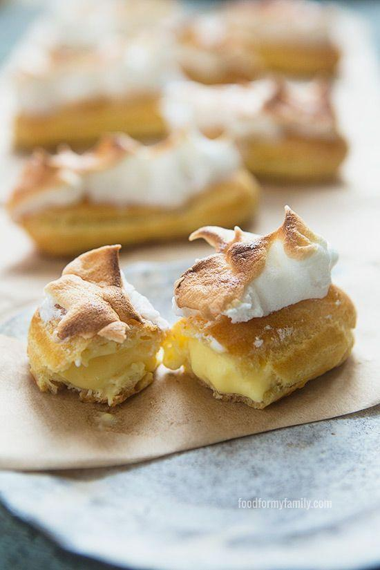 """<p>Everything you love about a lemon meringue pie (that meringue!) — in a tiny eclair form.</p><p>Get the recipe from <a href=""""http://foodformyfamily.com/recipes/lemon-meringue-eclairs-baking-as-therapy"""" rel=""""nofollow noopener"""" target=""""_blank"""" data-ylk=""""slk:Food For My Family"""" class=""""link rapid-noclick-resp"""">Food For My Family</a>.</p>"""