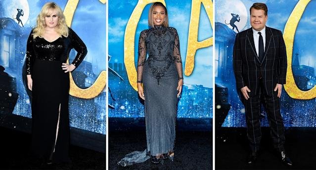 (Left to right) Rebel Wilson, Jennifer Hudson and James Corden pictured at the 'Cats' premiere. [Photo: Getty]