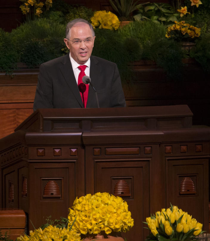 """Neil L. Andersen of the Quorum of the Twelve speaks during the 184th Annual General Conference of The Church of Jesus Christ of Latter-day Saints Saturday, April 5, 2014, in Salt Lake City. More than 100,000 Latter-day Saints are expected in Salt Lake City this weekend for the church's biannual general conference. Leaders of The Church of Jesus Christ of Latter-day Saints give carefully crafted speeches aimed at providing members with guidance and inspiration in five sessions that span Saturday and Sunday.""""While many governments and well-meaning individuals have redefined marriage, the Lord has not,"""" said Andersen. (AP Photo/The Deseret News, Scott G Winterton) SALT LAKE TRIBUNE OUT; MAGS OUT"""