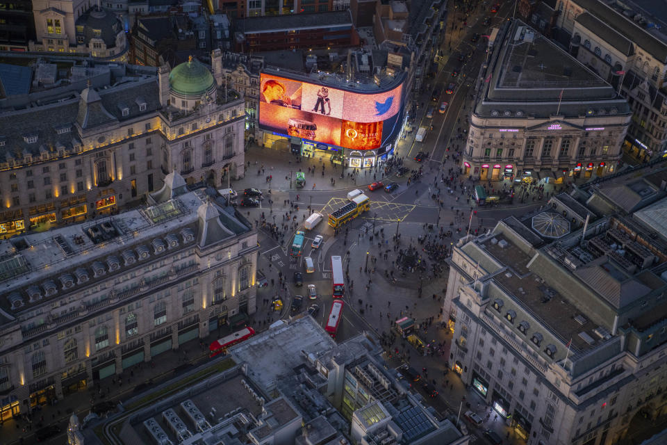 Night aerial view of Piccadilly Circus. (Photo: Jason Hawkes/Caters News)