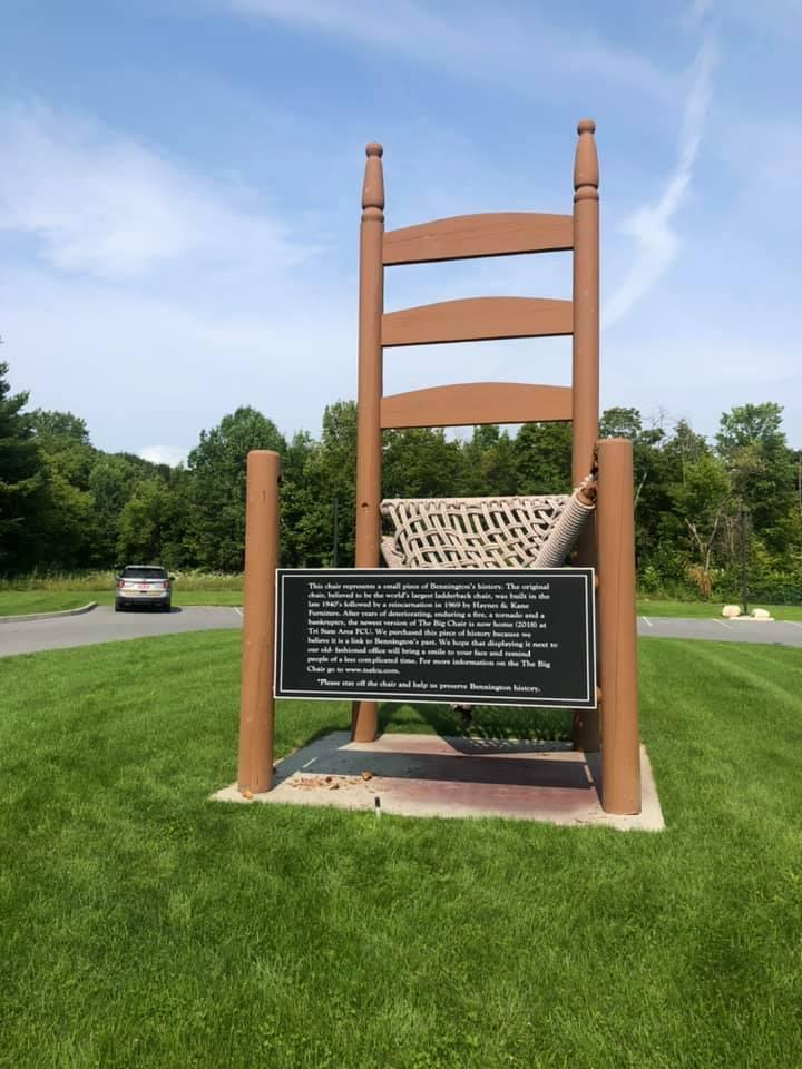 """This photo, posted to Facebook by the Bennington Police Department, shows the damage done by vandals to the """"Big Chair"""" roadside attraction."""