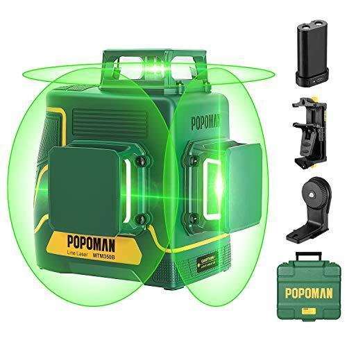 Laser Level 3D & 3 x 360°, Line Laser Green POPOMAN, USB Rechargeable, Self Leveling and Pulse…