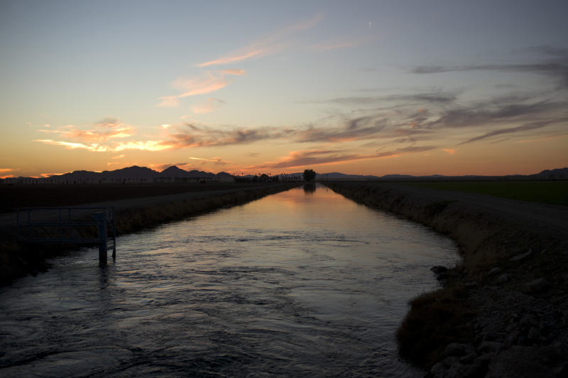 FILE - This Thursday, Nov. 12, 2015 file photo shows water diverted from the Colorado River in an irrigation canal in Blythe, Calif. Western U.S. states that have agreed to begin taking less water next month from the drought-stricken Colorado River got praise and a push Thursday, Dec. 12, 2019 from the nation's top water official. U.S. Bureau of Reclamation Commissioner Brenda Burman told federal, state and local water managers from seven states that the promises are crucial to ensuring that more painful cuts aren't required. On Jan. 1, Arizona, Nevada and Mexico start taking less water from the river. California, Colorado, New Mexico, Utah, Wyoming, several Native American tribes and farmers also have a stake in the river that supports about 40 million people. (AP Photo/Jae C. Hong, File)