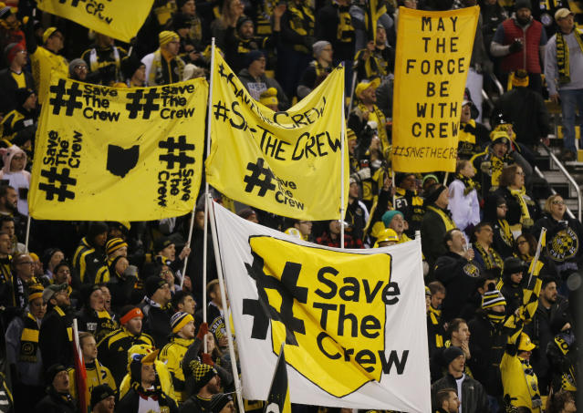 "<a class=""link rapid-noclick-resp"" href=""/soccer/teams/columbus-crew/"" data-ylk=""slk:Columbus Crew"">Columbus Crew</a> fans brought #SaveTheCrew banners of all shapes, colors and sizes. (AP)"