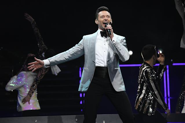 NEW YORK, NY - JUNE 29: Hugh Jackman performs onstage during Hugh Jackman The Man. The Music. The Show. at Madison Square Garden on June 29, 2019 in New York City. (Photo by Kevin Mazur/Getty Images for HJ )