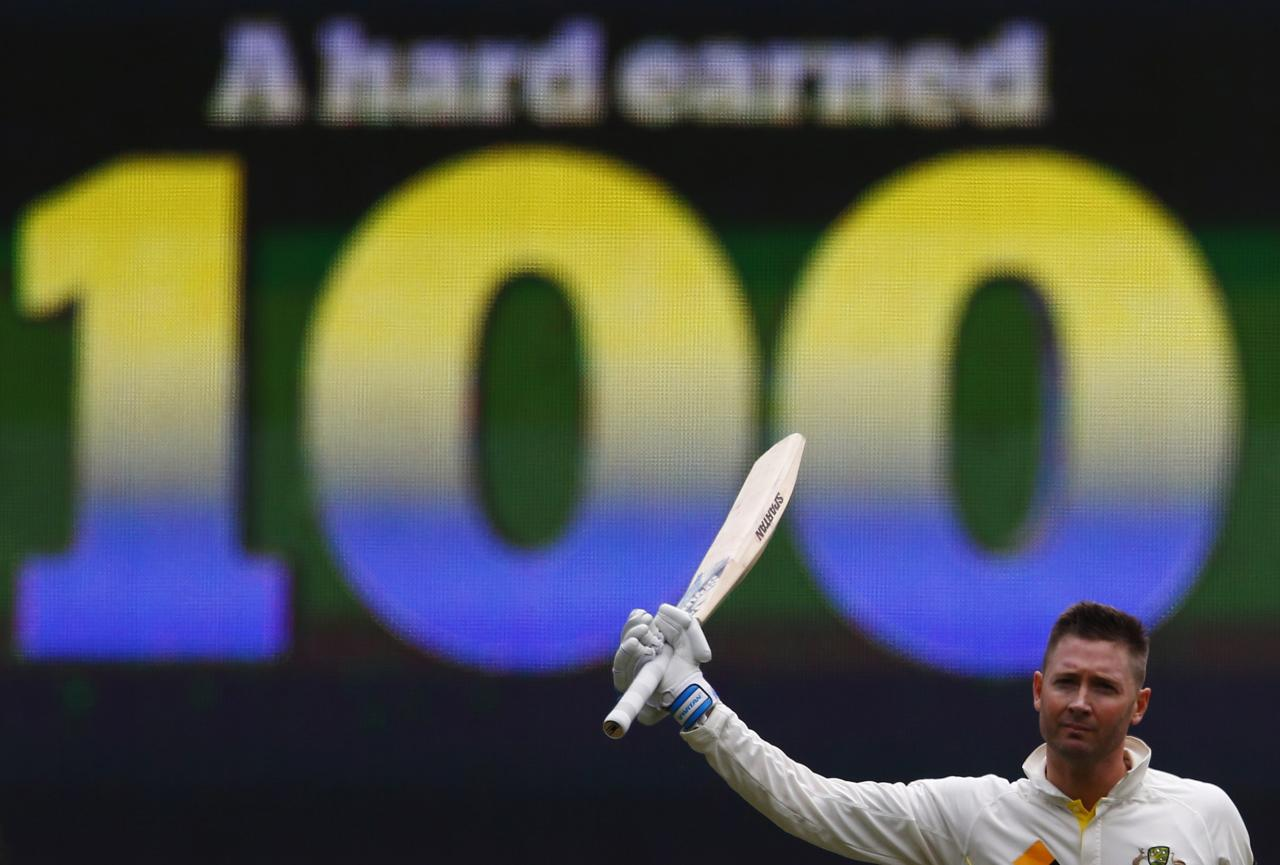 Australia's captain Michael Clarke celebrates his century during the second day of the second Ashes test cricket match against England at the Adelaide Oval December 6, 2013. REUTERS/David Gray (AUSTRALIA - Tags: SPORT CRICKET)