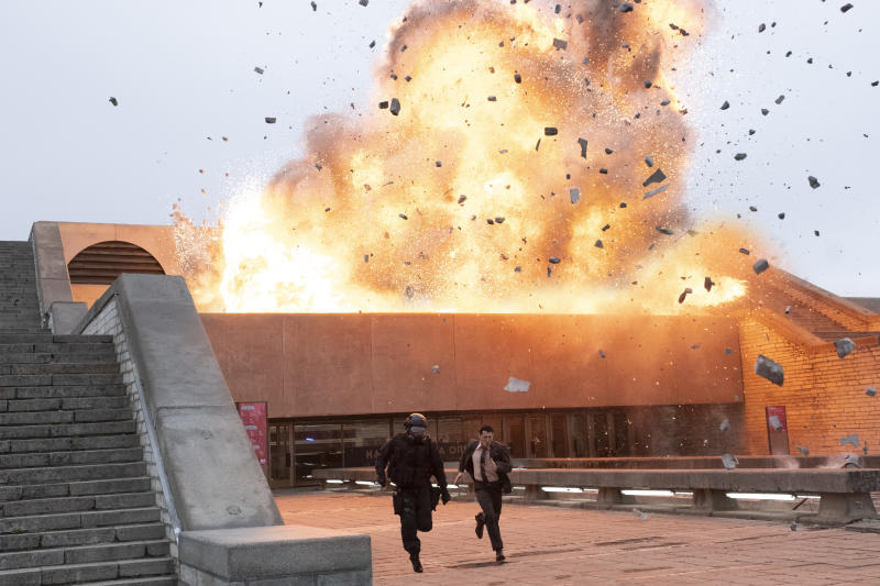Huge action sequences are the order of the day in 'Tenet'. (Credit: Warner Bros)