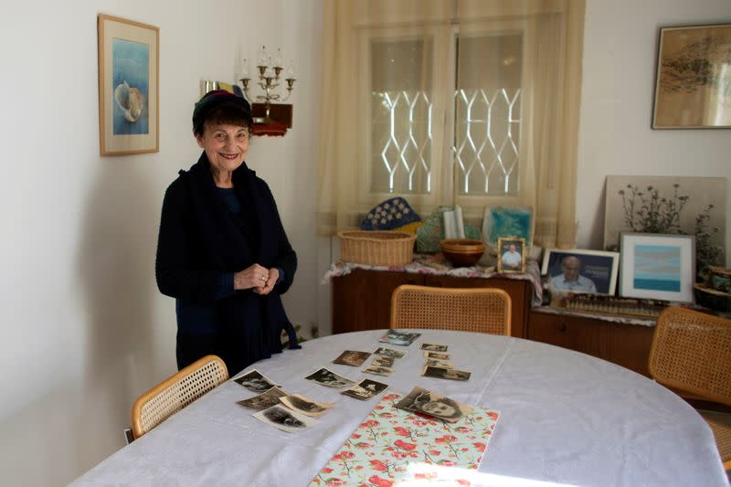 Holocaust survivor Leah Nebenzahl poses for a photograph during her interview with Reuters in Jerusalem
