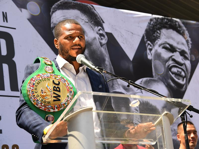 LOS ANGELES, CA - AUGUST 13: WBC World Super Middleweight Champion Anthony Dirrell speaks to the media during a press conference at STAPLES Center Star Plaza to preview his upcoming fight against David Benavidez on August 13, 2019 in Los Angeles, California. (Photo by Jayne Kamin-Oncea/Getty Images)