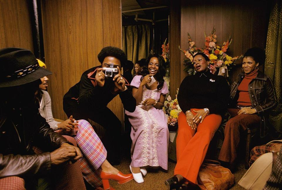 <p>Gladys Knight and friends backstage at the Apollo, Harlem in 1973.</p>