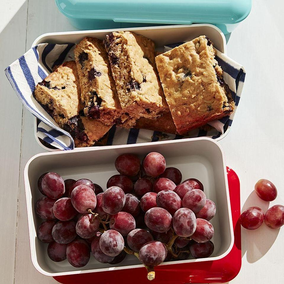 """<p>Never picnic without these make-ahead bars, chock full of oats and blueberries.</p><p><em><a href=""""https://www.womansday.com/food-recipes/food-drinks/a27496549/blueberry-oatmeal-blondies-recipe/"""" rel=""""nofollow noopener"""" target=""""_blank"""" data-ylk=""""slk:Get the recipe from Woman's Day »"""" class=""""link rapid-noclick-resp"""">Get the recipe from Woman's Day »</a></em></p>"""