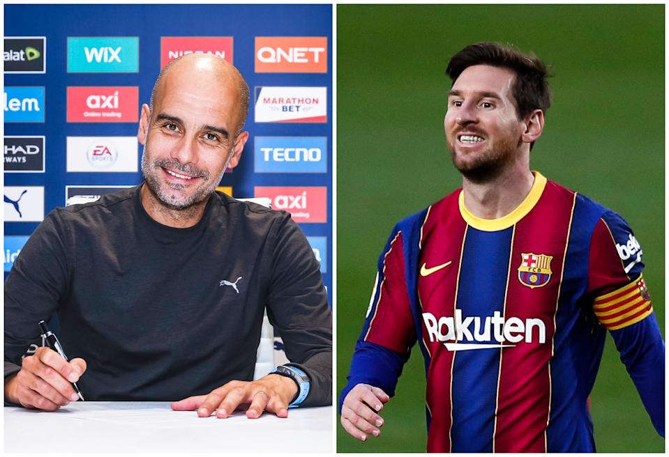 Pep Guardiola firmando su renovación con el City y Leo Messi en un partido del Barcelona esta temporada. (Foto: Matt McNulty / Manchester City / Getty Images / Eric Alonso / Getty Images).