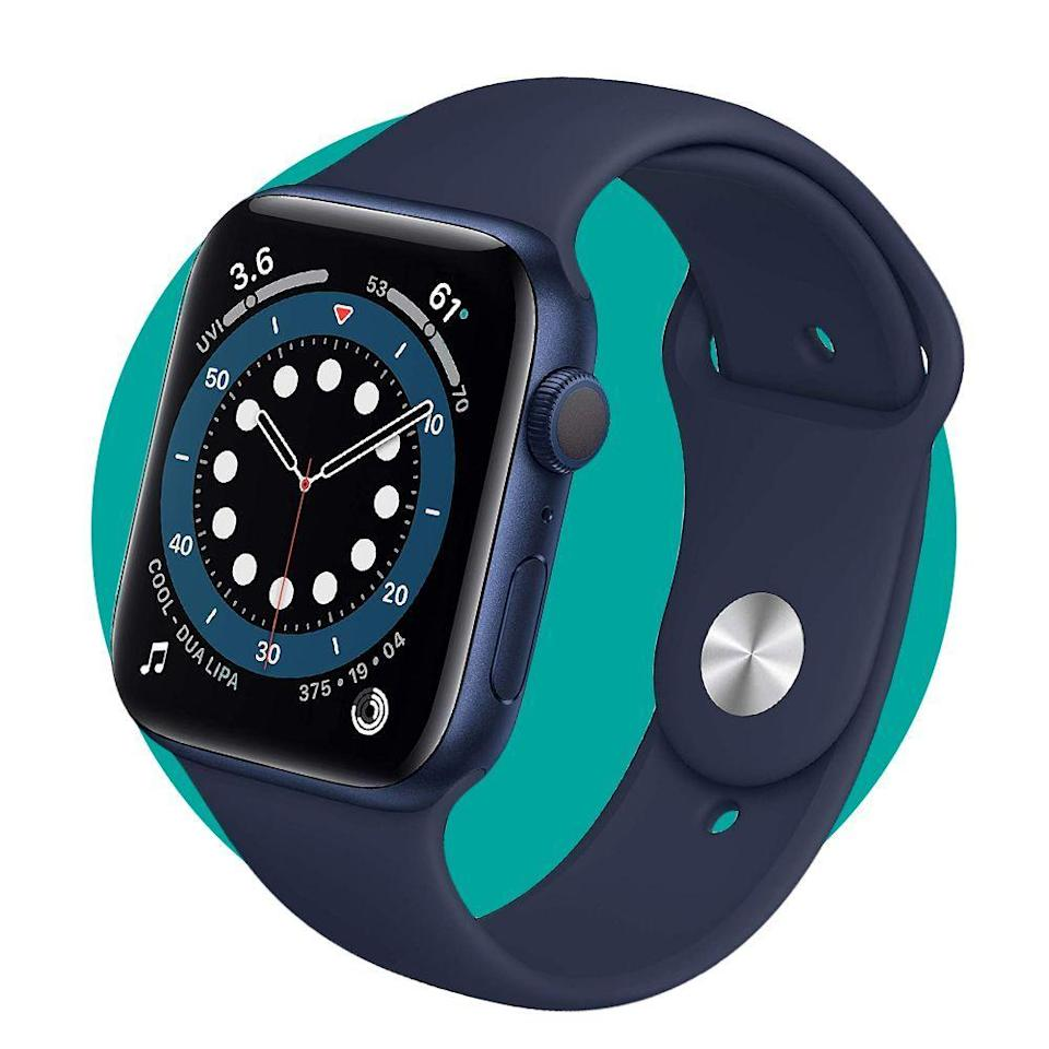 """<p><strong>Apple</strong></p><p>amazon.com</p><p><strong>$414.00</strong></p><p><a href=""""https://www.amazon.com/dp/B08J5Y89C7?tag=syn-yahoo-20&ascsubtag=%5Bartid%7C2089.g.34449251%5Bsrc%7Cyahoo-us"""" rel=""""nofollow noopener"""" target=""""_blank"""" data-ylk=""""slk:Shop Now"""" class=""""link rapid-noclick-resp"""">Shop Now</a></p><p>The <a href=""""https://www.bestproducts.com/tech/a34149601/apple-watch-series-6-review/"""" rel=""""nofollow noopener"""" target=""""_blank"""" data-ylk=""""slk:Apple Watch Series 6"""" class=""""link rapid-noclick-resp"""">Apple Watch Series 6</a> is an upgraded variant of the best smartwatch money can buy. It brings next-level health and fitness-tracking feature and welcome performance improvements over its predecessor.</p>"""