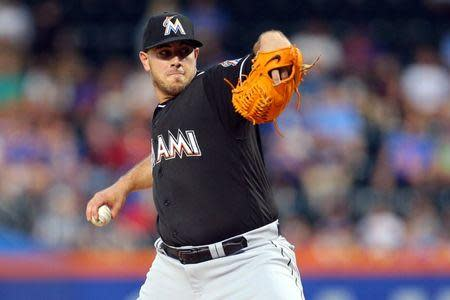 Miami Marlins Jose Fernandez pitches against the New York Mets at Citi Field in New York, New York August 29, 2016. Mandatory Credit: Brad Penner-USA TODAY Sports/File Photo