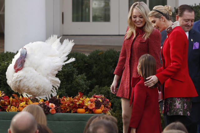 <p>Tiffany Trump, Ivanka Trump, right, and her daughter Arabella Kushne look at Drumstick after President Donald Trump pardoned the turkey in an annual presidential tradition, Tuesday, Nov. 21, 2017, in the Rose Garden of the White House in Washington. (Photo: Jacquelyn Martin/AP) </p>