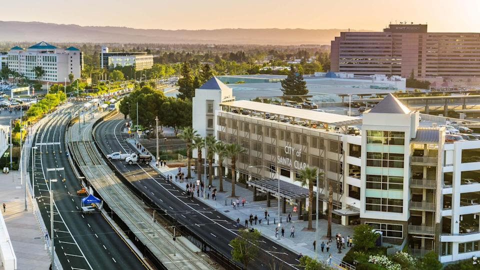 May 11, 2018 Santa Clara / CA / USA - Sunset view of the street and surrounding buildings near Levi's Stadium in south San Francisco bay area - Image.