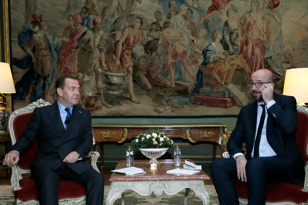 Russia's Prime Minister Dmitry Medvedev (L) meets with his Belgian counterpart Charles Michel at the Egmont Palace in Brussels, Belgium October 19, 2018. Ekaterina Shtukina/Sputnik/Pool via REUTERS  ATTENTION EDITORS - THIS IMAGE WAS PROVIDED BY A THIRD PARTY.