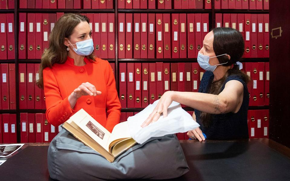 The Duchess of Cambridge visits the National Portrait Gallery archive to mark the publication of the lockdown book Hold Still - Dominic Lipinski