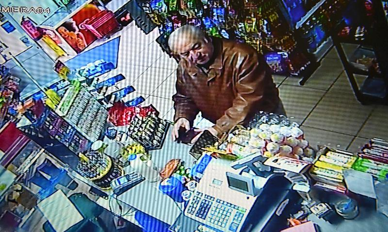 A still image from CCTV footage recorded on February 27, 2018 shows Russian double agent Sergei Skripal buying groceries