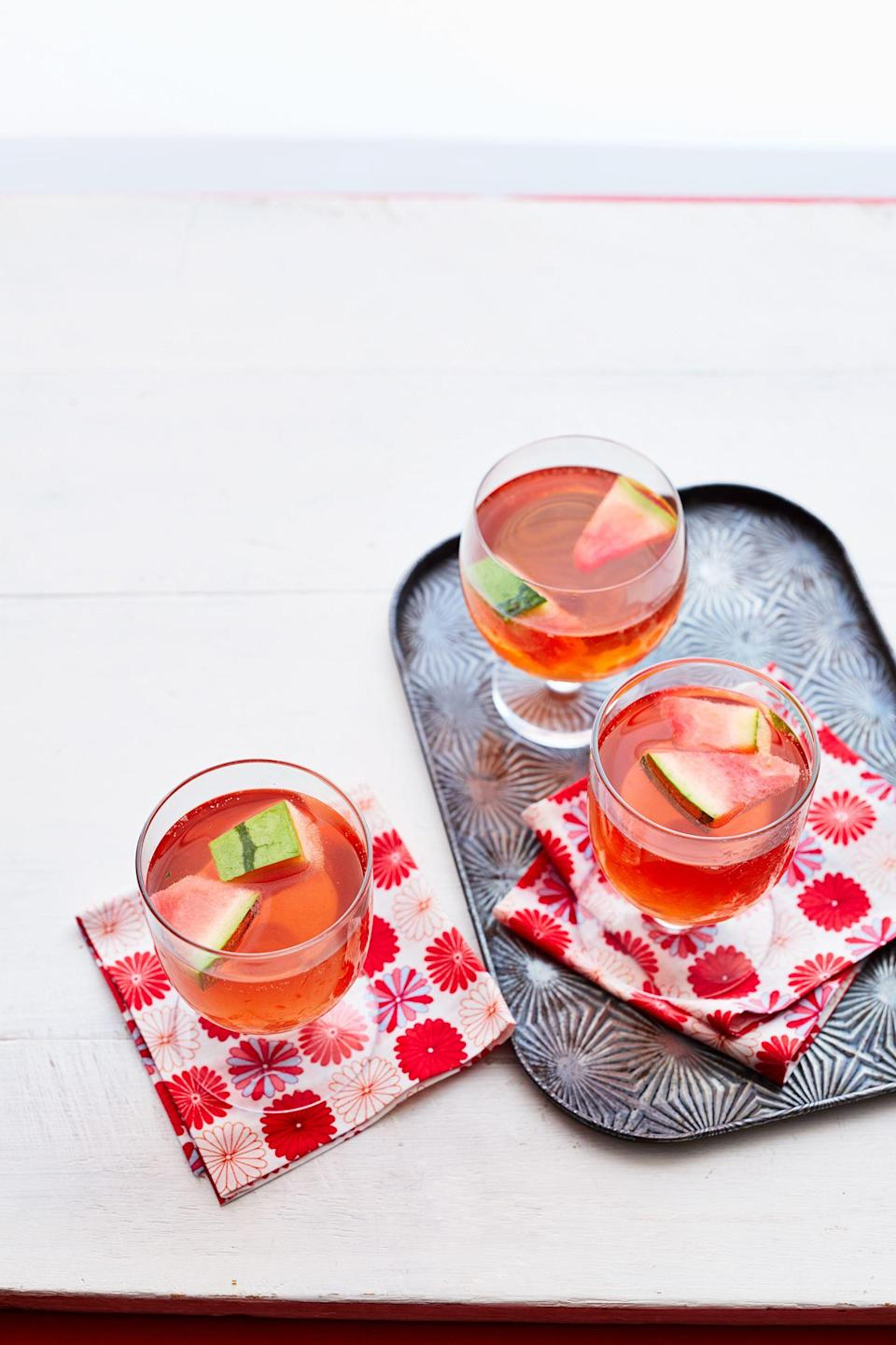 """<p>A summer get-together isn't complete without a batch of ice-cold beverages and cocktails. Sure, a pitcher of lemonade or iced tea will get the job done, but why not go all out and get creative in the kitchen? For instance, you could try one of these delicious watermelon drinks instead to cool off on a hot day. They'll also pair perfectly with your favorite <a href=""""https://thepioneerwoman.com/food-cooking/meals-menus/g32188535/best-grilling-recipes/"""" rel=""""nofollow noopener"""" target=""""_blank"""" data-ylk=""""slk:grilling recipes"""" class=""""link rapid-noclick-resp"""">grilling recipes</a> at your next cookout or as fun <a href=""""https://www.thepioneerwoman.com/food-cooking/meals-menus/g36432840/fourth-of-july-drinks/"""" rel=""""nofollow noopener"""" target=""""_blank"""" data-ylk=""""slk:4th of July drinks"""" class=""""link rapid-noclick-resp"""">4th of July drinks</a>!</p><p>While there are lots of things to love about these summer drink recipes, the best part is how <em>easy</em> they are to make. Most of these ideas start with watermelon juice which could not be simpler to whip up—just toss chunks of the fruit in the blender! It's also the perfect way to use up leftover watermelon. If you're after watermelon <a href=""""https://thepioneerwoman.com/food-cooking/meals-menus/g32304317/cocktail-recipes/"""" rel=""""nofollow noopener"""" target=""""_blank"""" data-ylk=""""slk:cocktail recipes"""" class=""""link rapid-noclick-resp"""">cocktail recipes</a> or watermelon mixed drinks, there are so many to choose from. Try making a watermelon margarita or Ree Drummond's three-ingredient watermelon sangria. Or, if you want alcohol-free drinks for the kids to go along with your delicious <a href=""""https://www.thepioneerwoman.com/food-cooking/meals-menus/g32336081/summer-recipes/"""" rel=""""nofollow noopener"""" target=""""_blank"""" data-ylk=""""slk:summer recipes"""" class=""""link rapid-noclick-resp"""">summer recipes</a>, check out the watermelon cantaloupe lemonade or watermelon smoothie. Your next barbecue is going to be a hit thanks to these delicious fruity wat"""
