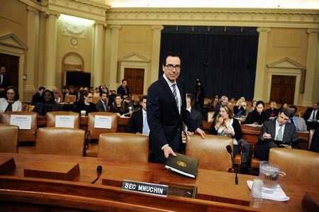 FILE PHOTO: U.S. Treasury Secretary Steven Mnuchin testifies at U.S. House Ways and Means Committee hearing on President Donald Trump's proposed budget in Washington, U.S., March 14, 2019.      REUTERS/Mary F. Calvert/File Photo