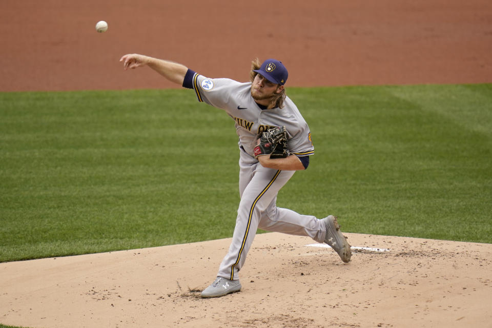 Milwaukee Brewers starting pitcher Corbin Burnes throws during the first inning of a baseball game against the St. Louis Cardinals Thursday, April 8, 2021, in St. Louis. (AP Photo/Jeff Roberson)