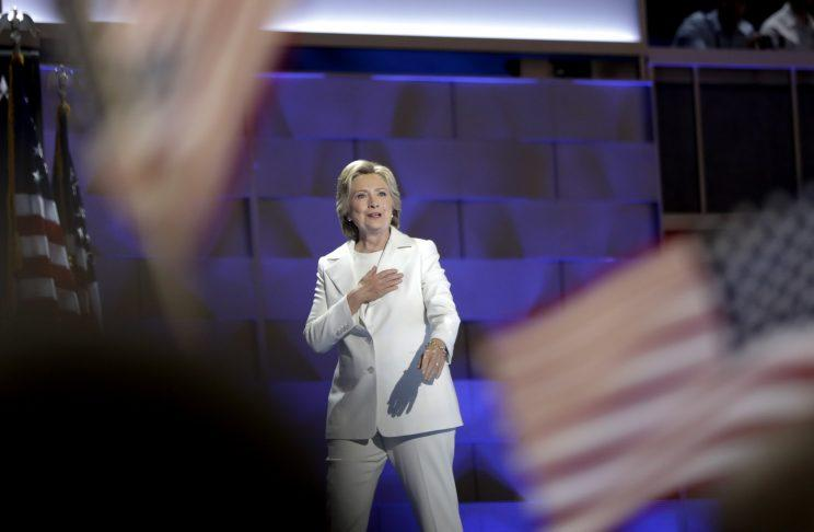 Democratic presidential nominee Hillary Clinton appears during the final day of the Democratic National Convention in Philadelphia, Thursday, July 28, 2016. (AP Photo/Matt Rourke)